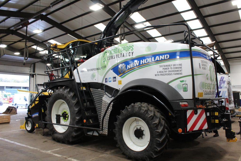branding on New Holland FR 550 Forage Harvester